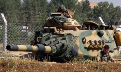 A török hadsereg tankja a szíriai határon